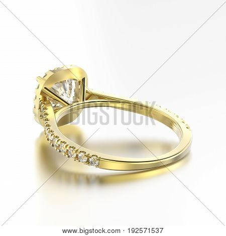 3D illustration yellow gold ring with diamonds back view with reflection on a grey background