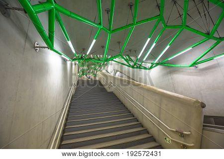 Tokyo, Japan - April 17, 2017: iside futuristic architecture of Lidabashi Station, a Tokyo railway station serving Chuo-Sobu of JR East and Namboku, Yurakucho, Tozai, Oedo lines of Tokyo Metro.