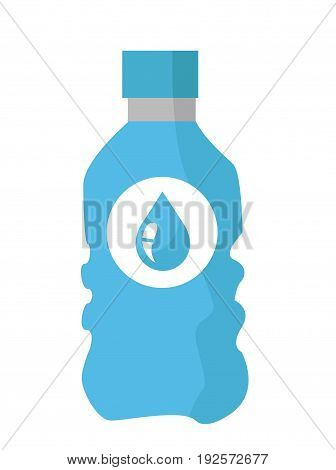 Water bottle illustration with water drop logo