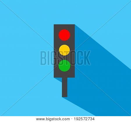 Traffic light illustration flat design with blue background