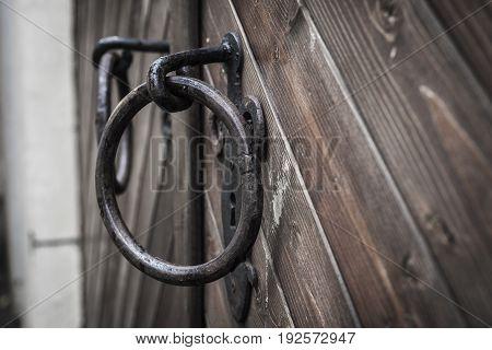 Old Door Handle On Wooden Door