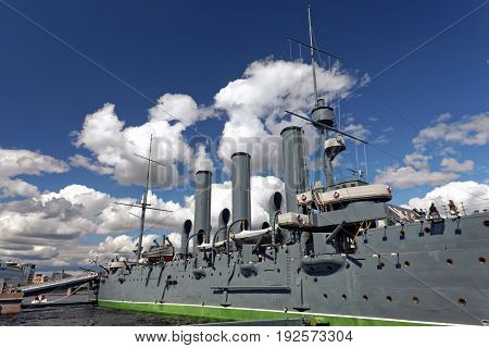 SAINT-PETERSBURG, RUSSIA - 23 JUNE 2017: Cruiser Aurora in Saint-Petersburg, Russia. Museum ship and symbol of October revolution 1917 year.