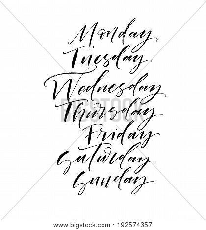 Set of days of the week. Monday Tuesday Wednesday Thursday Friday Saturday Sunday. Ink illustration. Modern brush calligraphy. Isolated on white background.