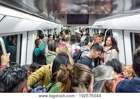 BARCELONA SPAIN - APRIL 19: Crowded subway on April 19 2017 in Barcelona