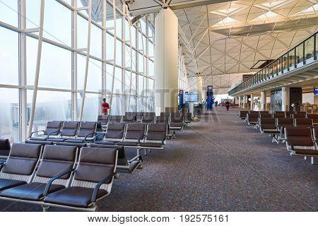 HONG KONG - CIRCA SEPTEMBER, 2016: inside Hong Kong International Airport.