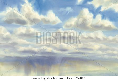 Sky with summer clouds and rain watercolor. Artistic natural painting abstract background.