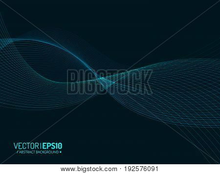 Abstract vector background, blue transparent waved lines for brochure, website, flyer design. Blue smoke wave. Blue wavy background.