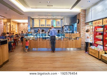 HONG KONG - CIRCA SEPTEMBER, 2016: inside a Pret a Manger in Hong Kong. Pret a Manger is a sandwich shop chain based in the United Kingdom.