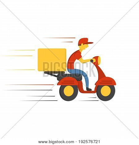 Delivery concept design. Boy ride scooter motorcycle with box. Vector illustration