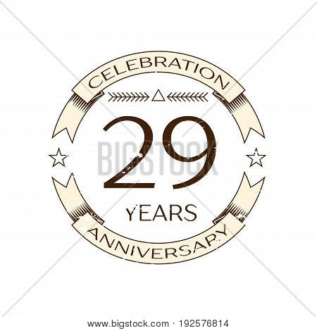 Realistic twenty nine years anniversary celebration logo with ring and ribbon on white background. Vector template for your design