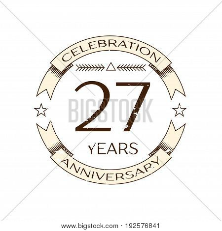Realistic twenty seven years anniversary celebration logo with ring and ribbon on white background. Vector template for your design