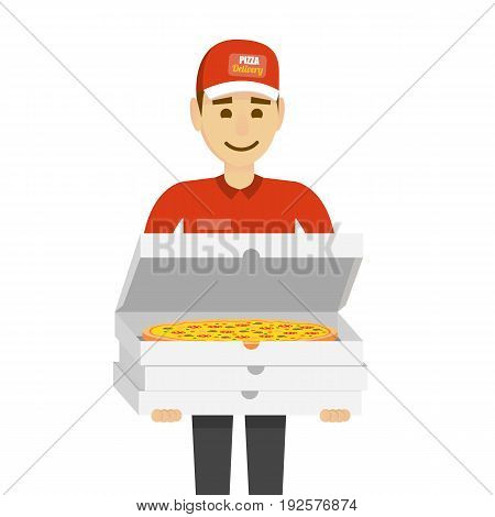 Delivery boy with pizza. Funny character man isolated on white. Vector illustration