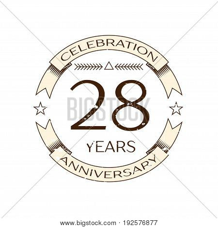 Realistic twenty eight years anniversary celebration logo with ring and ribbon on white background. Vector template for your design