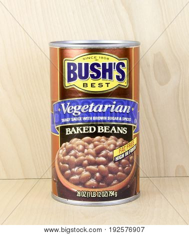 Spencer Wisconsin June 24 2017 Can of Bush's Best Vegetarian Baked Beans Bush's Best is a family owned corporation in America and was founded in 1908