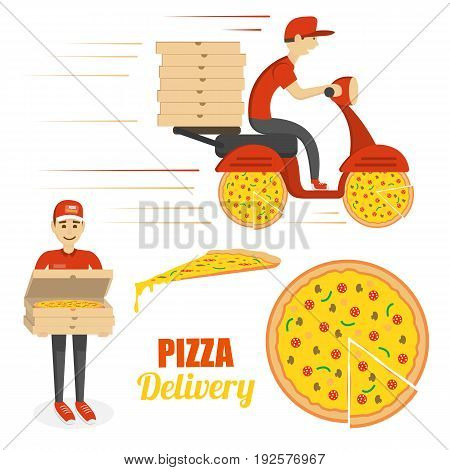 Pizza, scooter motorcycle and delivery boy with boxes. Vector template isolated on white background. Fast delivery concept