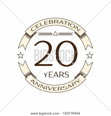 Realistic twenty years anniversary celebration logo with ring and ribbon on white background. Vector template for your design