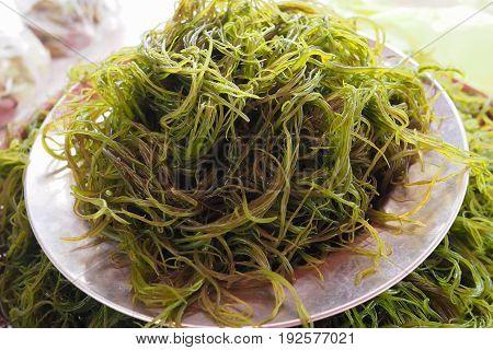 Fresh local seaweed (Gracilaria fisferi) in Thailand market