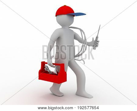 Walking Electrician With Toolbox, Cable And Cap. 3D Rendered Illustration