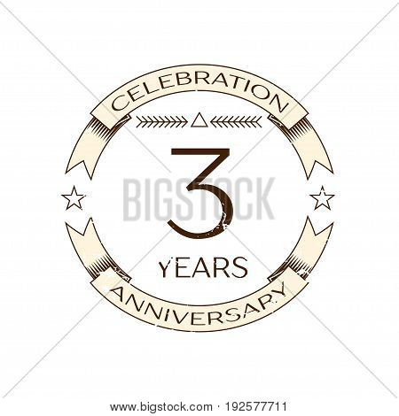 Realistic three years anniversary celebration logo with ring and ribbon on white background. Vector template for your design