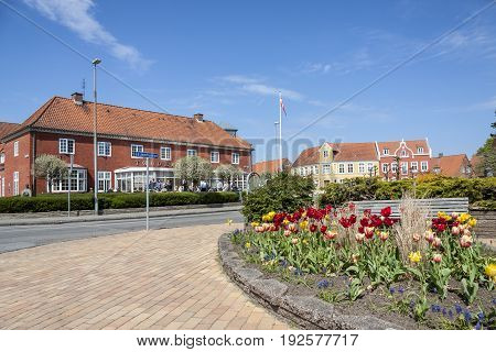 TONDER DENMARK - MAY 7 2017: People relaxing on sunny sunday in center of old town on may 7 2017 in Tonder Denmark.