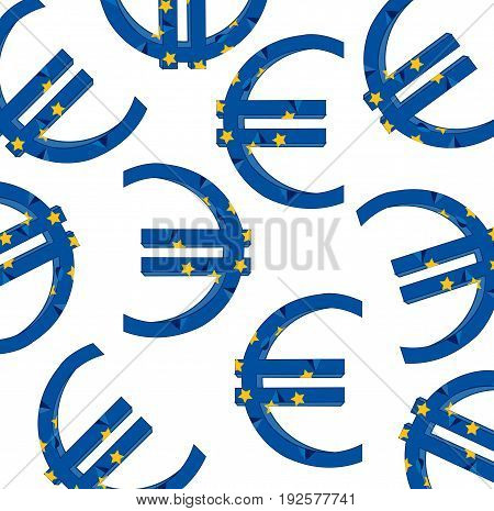 Symbol of the money sign of the euro colour of the flag of the europe