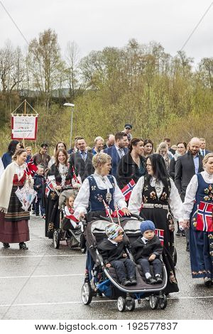 VERDAL NORWAY - MAY 17 2017: National day in Norway. Norwegians at traditional celebration and parade on may 17 2017 in Verdal. People on parde before school in Verdal. Constitution Day is the National Day of Norway.