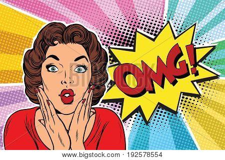 OMG pop art brunette woman. Pop art retro vector illustration