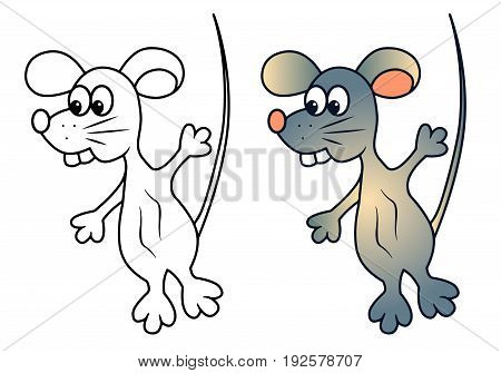 Funny rat mouse vector with teeth  cartoon colored illustration sketch animal blue