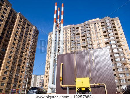 Voronezh, Russia - April 27, 2017: Autonomous gas boiler room in the courtyard of the new residential complex