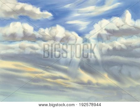 Sky with summer clouds and sun rays watercolor. Artistic natural painting abstract background.