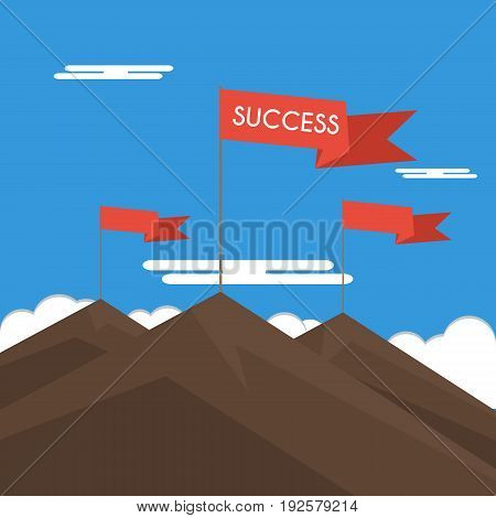 Red Flag On A Mountain Peak. Concept Business And Success.