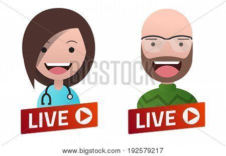 Red gradient Live Stream sign with Doctor and Professor avatar set. Emblem logo badge. Flat design. Template for citybanner website design cover. White background. Illustration. Eps10.