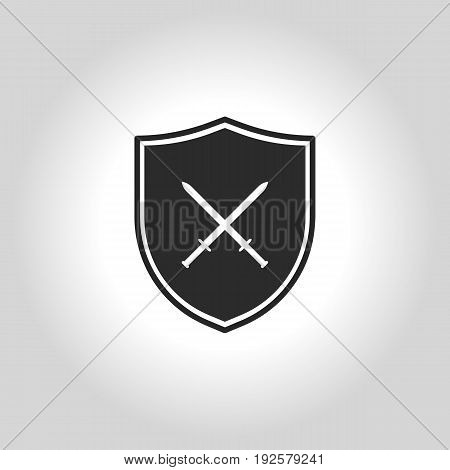 Vector Of Shield Flat Icon On Grey Background