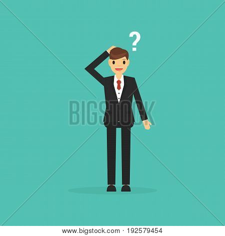 Thinking businessman with question mark. business concept