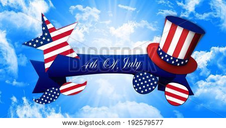 Happy 4Th Of July. Glasses And Mustache Design Of The American Flag With Hat Of Uncle Sam And Ribbon