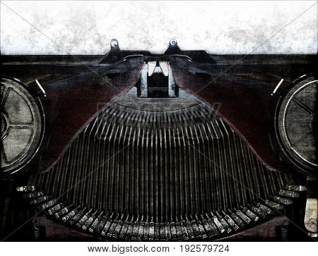 Detail of the part of old typewriting machine in grunge style