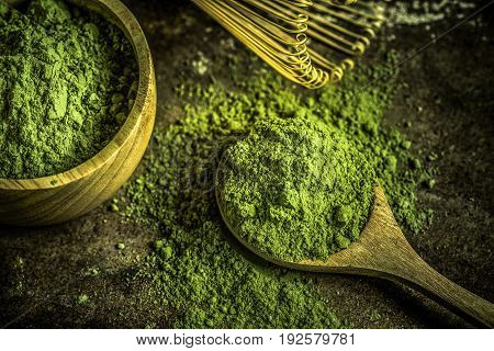 Matcha green tea. Matcha powder. Organic Green Matcha Tea.
