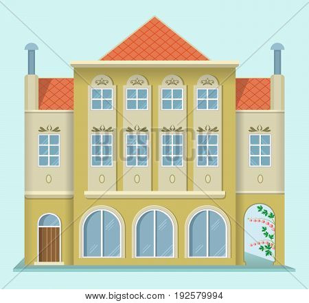Renaissance house. European architecture. Flat design style. Vector illustration.