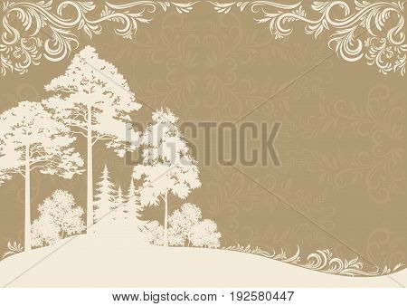Forest Landscape, Coniferous and Deciduous Trees Silhouettes on Brown Background with Abstract Vintage Floral Pattern. Vector