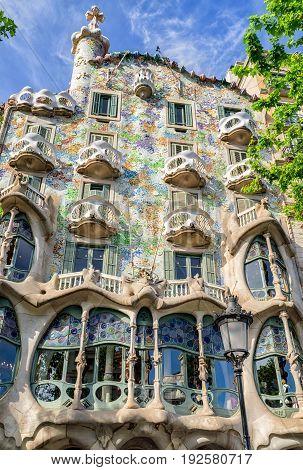 BARCELONA SPAIN - APRIL 20: House Casa Batllo designed by Antoni Gaudi on April 20 2017 in Barcelona