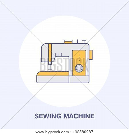 Sewing machine flat line icon, logo. Vector colored illustration of tailor supplies for hand made shop or dressmaking service.