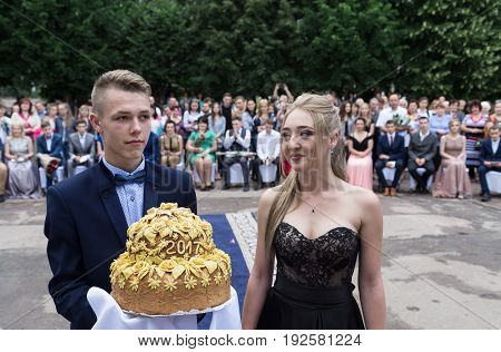Ozernoe Ukraine June 24 2017: Solemn event on the final day of the Ukrainian school. Graduates of the eleventh grade at a gala event near the school.