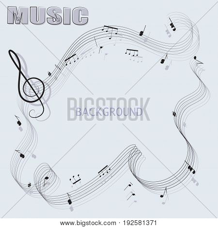 Abstract musical background and the word MUSIC. The poster design. Composition for the decoration of music book, notebook, book illustrations, concert programs, announcements of appearances.
