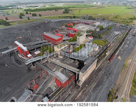 Panorama aerial view shot of the coal processing plant, industrial production, factory