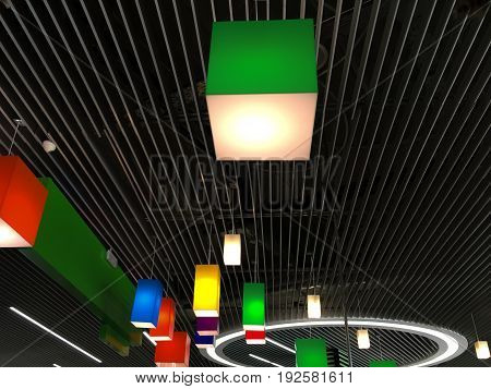 Plastic multicolored chandeliers on a modern striped metal ceiling. Modern design of industrial interior. Colorful cubic geometric shapes background.