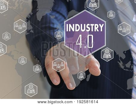 The Businessman Clicked The Button Industry 4.0 On The Touch Screen