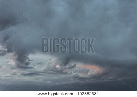 Atmospheric phenomenon, heavily clouded sky with dark clouds