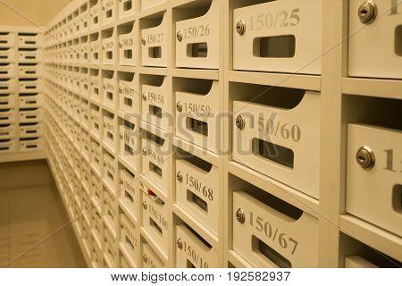 White mailboxes in condominium apartment with room number.
