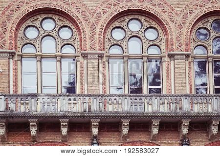 Balcony with carved windows in the Residence of the Metropolitans of Bukovina and Dalmatia