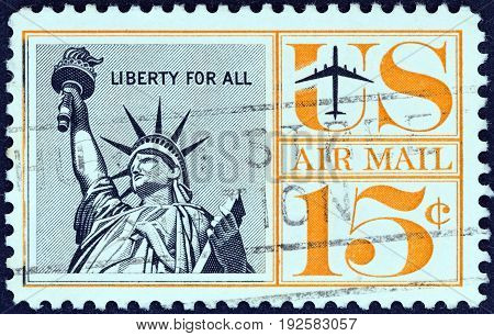 USA - CIRCA 1961: A stamp printed in USA shows Statue of Liberty, circa 1961.